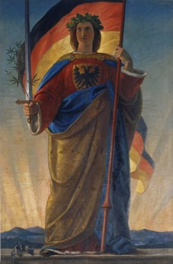 Painting of a woman in long robes holding a sword and the German flag.