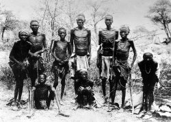 A group of emaciated Herero people in Africa.