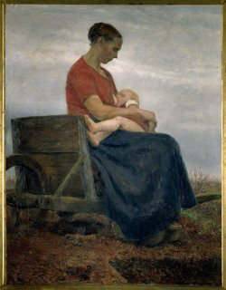Painting of a white woman sitting on a wheelbarrow nursing a baby.