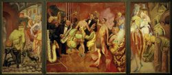 A painting of three panels. The main center panel shows a lavish party scene with people dancing and musicians playing. The panels on the left and right show the world outside the party, including injured men and amputees panhandling in World War I uniforms.