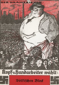 Poster featuring antisemitic caricature of a Jewish figure.