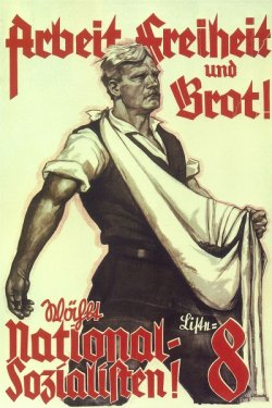 Poster dated 1930 featuring a strong, fair-colored man who might be a farmer.