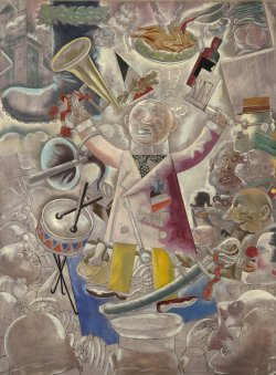 "Painting title ""The Agitator"" by George Grosz showing a man holding a bullhorn and a flag, surrounded by a crowd of people and other objects."
