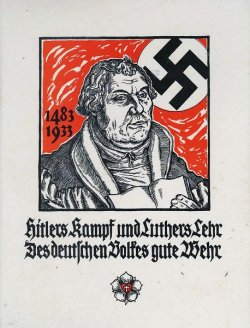 Caricature of Martin Luther with a Nazi flag in the background text in German along the bottom.