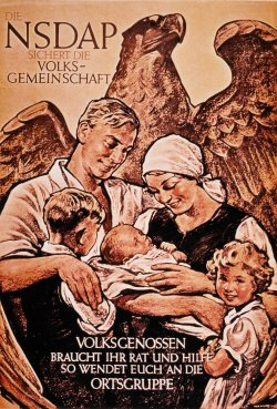 Poster with an illustration of a German man and German woman. The woman is wearing a kerchief and holding a baby. There are also two young children in the foreground of the poster. Behind the family is an eagle in the background.