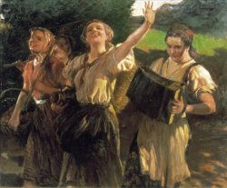 Four women in peasant clothing smile as they walk in the countryside, one carrying an accordion, one a jug, and another a basket.