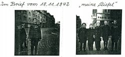 Two photographs of young boys posing on a cobblestone street in 1942.