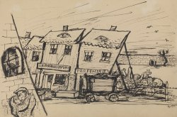 Sketch of a ghetto building, pile of dead bodies visible.