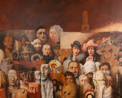 Painting titled The Family by Samuel Bak. Depicts many faces, some injured or deformed.