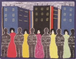 An arpillera (a brightly colored patchwork picture quilt) of women and dark silhouettes of figures.