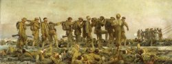 Painting title Gassed by John Singer Sargent. Shows World War I soldiers with bandaged eyes being led by other soldiers. Many dead and injured soldiers laying at the base of the painting.