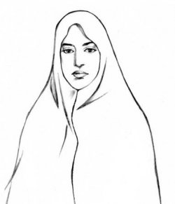 An illustration showing the use of a chador. A woman wears a veil that is a full-body shawl, holding it closed at the neck. Only her face is showing.