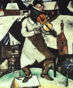 Chagall the Fiddler painting. A man playing fiddle in the foreground with a church and other buildings in the background.