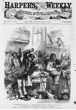 Harper's Weekly illustration. Cartoon showing members of the South Carolina Legislature in argument in the House, with Columbia rebuking them.