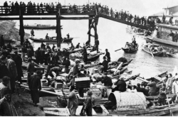 Photograph of Chinese citizens and American and British visitors evacuating Nanjing.