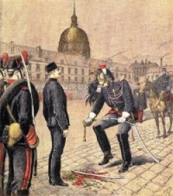 Illustration titled The Degradation of Dreyfus by Henri Meyer. Shows Alfred Dreyfus being stripped of rank in the military.