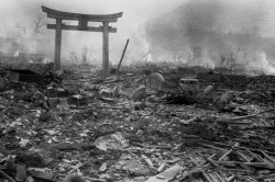 A view of the rubble in Nagasaki, Japan, after the atomic bomb was detonated. Debris surrounds the only structure to remain standing, a traditional Shinto gate.