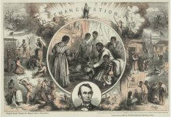 Wood engraving by Thomas Nast done in 1865 containing picture of Abraham Lincoln and scenes of Reconstruction.