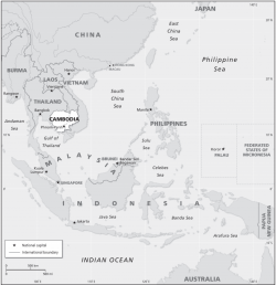 A map of southeast Asia, with Cambodia highlighted. North to south, the map stretches from China to Australia. From east to west, the map stretches from Burma to Papua New Guinea.