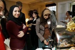 Muslim and Jewish university-aged students attend a reception at the Middle East Coexistence House on the Douglass College campus at Rutgers University in New Brunswick, New Jersey.