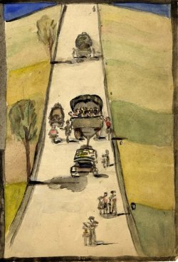 Watercolor of carriages of refugees driving a road in Germany