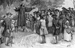 Drawing of evangelist George Whitefield preaching outdoors to a crowd of people.