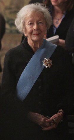 A portrait of Wislawa Szymborska at the ceremony where she was decorated for the Order of the White Eagle of Poland.