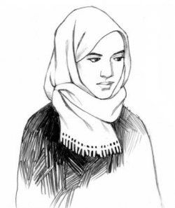 An illustration showing the use of a hijab. A woman wears a veil around just her head and neck, with her face visible.