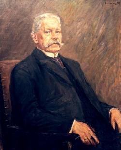 painted seated portrait of Paul von Hindenburg