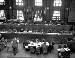 An overhead view of the International Military Tribunal for the Far East Meeting in Tokyo, 1947.