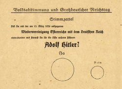 1938 Voting ballot with German writing.