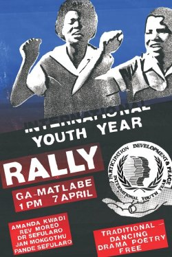 Poster shows two young women with their fists raised and includes details about the rally.