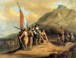 Group of 17th century European explorers carrying supplies and a Dutch flag onto land, approached by indigenous people.