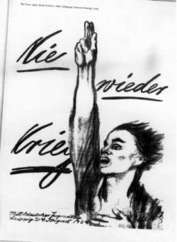 A charcoal drawing by Käthe Kollwitz of a man holding one hand in the air and the other to his chest.