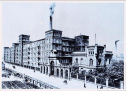 A illustration of Scheibler's textile factory in Lodz, Poland, circa 1936.