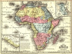 Map of Africa, with distinct territories colored in red, blue, and yellow. Includes close up maps of Liberia and Egypt.