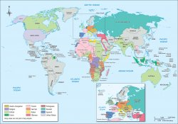 Map showing empires in existence pre-WWI in 1914.