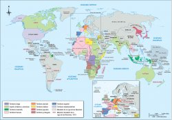 Map identifying territories of world empires after World War I.