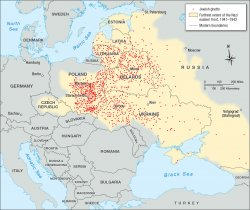 Map of Eastern Europe with locations of Jewish ghettos established by Nazi Germany.