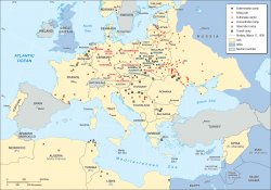 Map with locations of main camps and killing sites across Europe during the Nazi era.