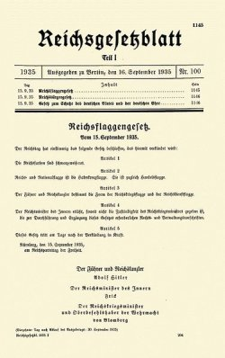A document that is part of the Nuremberg Race Laws
