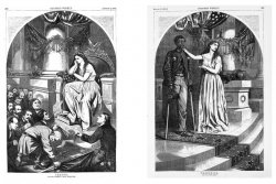 Centerfold prints show Columbia considering why she should pardon Confederate troops who are begging for forgiveness when an African American Union soldier with an amputated leg does not have the right to vote