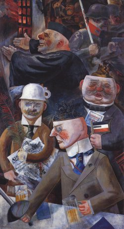 """Caricatures of elite classes of Germany, drinking beer. Painting titled """"The Pillars of Society"""" by George Grosz (1926)."""