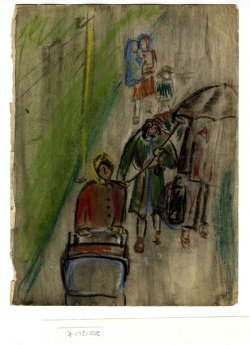 watercolor by Elisabeth Kaufmann showing pedestrians walking in the rain
