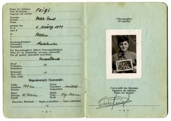 Peter Feigl's refugee idenfication card with a photo of Feigl, date of birth, birthplace and more personal information.