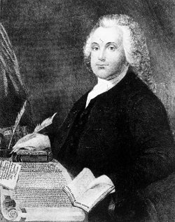 Engraving portrait of Roger Williams.
