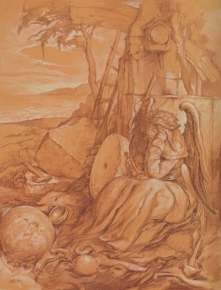 Artwork by Samuel Bak. Depicts a clockface and hammer among stone ruins with a seated angel.