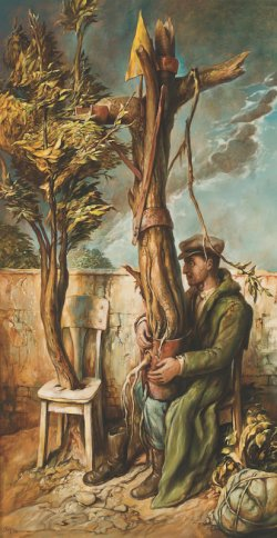 Painting by Samuel Bak. Depicts a man seated outside holding a fragmented tree in his lap.