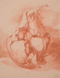 Artwork by Samuel Bak. Depicts an orange and tan sketch of a large pear with smaller pears inside.