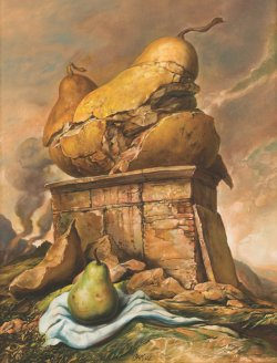 Painting by Samuel Bak. Depicts an undamaged pear in the foreground and a damaged pear monument in the background.
